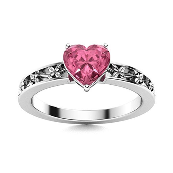 Natural 0.65 CTW Tourmaline Solitaire Ring 14K White Gold