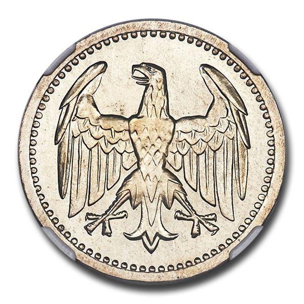 1924-A Germany Weimar Republic Silver 3 Mark PR-66+ NGC