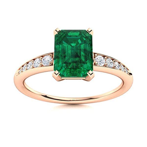 Natural 1.73 CTW Emerald & Diamond Engagement Ring 18K Rose Gold