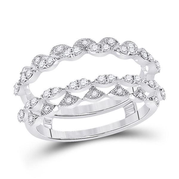 14kt White Gold Womens Round Diamond Wedding Wrap Wrap Ring Guard Enhancer 3/8 Cttw