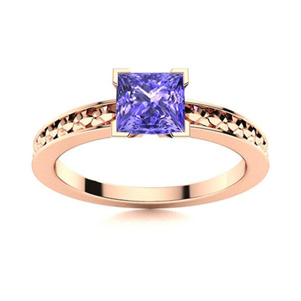 Natural 0.80 CTW Tanzanite Solitaire Ring 14K Rose Gold