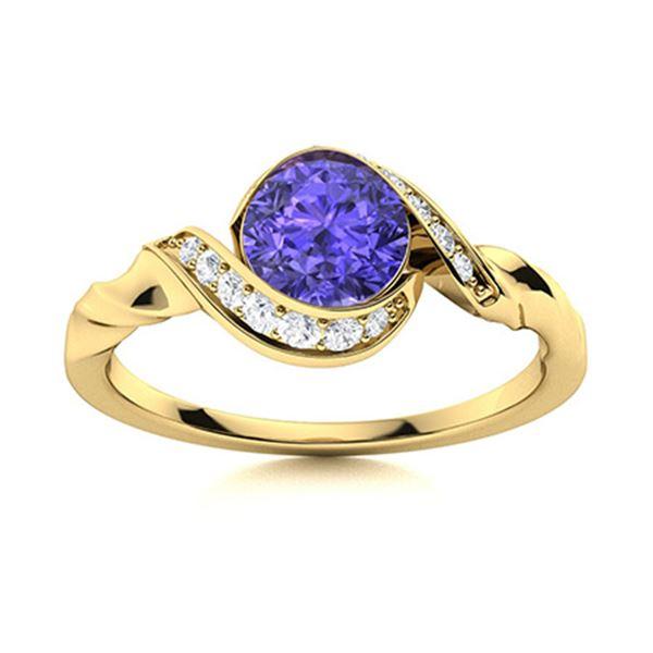 Natural 0.54 CTW Tanzanite & Diamond Engagement Ring 14K Yellow Gold