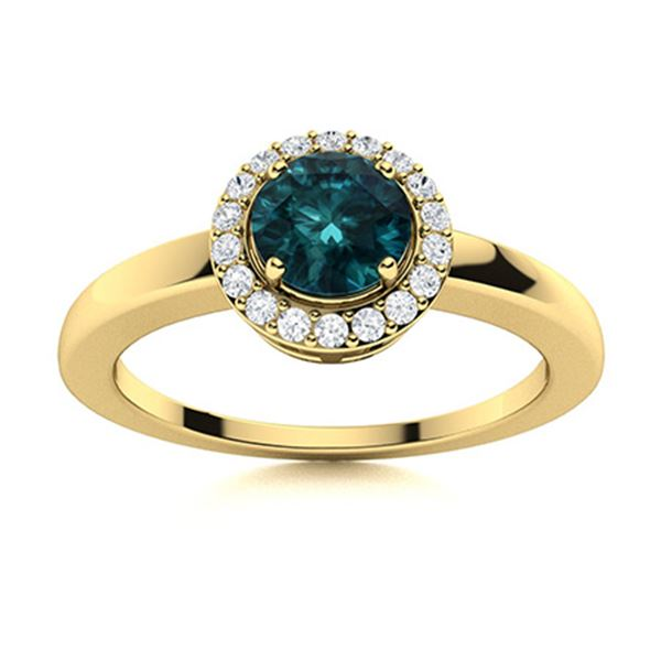 Natural 0.57 CTW Blue & White Diamond Engagement Ring 14K Yellow Gold