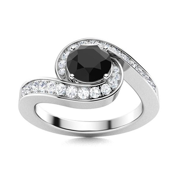 Natural 1.10 CTW Onyx & Diamond Engagement Ring 18K White Gold