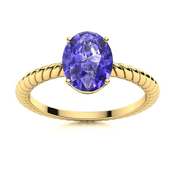 Natural 3.06 CTW Tanzanite Solitaire Ring 14K Yellow Gold