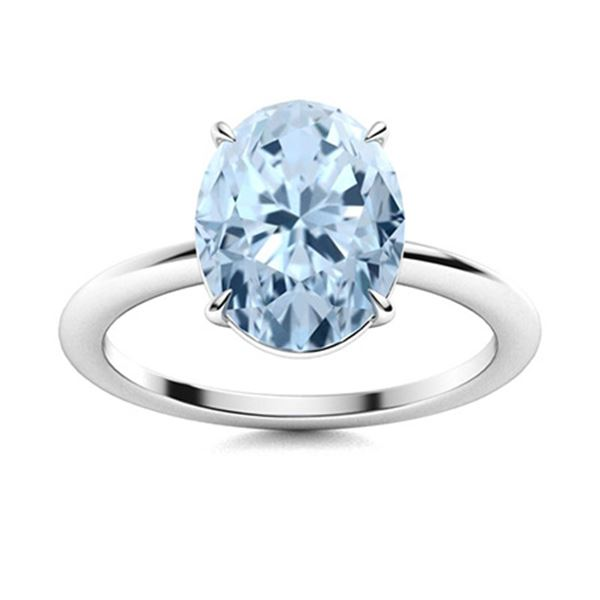 Natural 4.52 CTW Aquamarine Solitaire Ring 18K White Gold