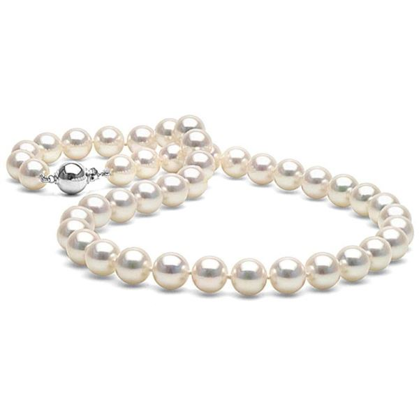 White Akoya Pearl Necklace, 8.5-9.0mm