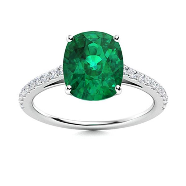 Natural 1.32 CTW Emerald & Diamond Engagement Ring 14K White Gold