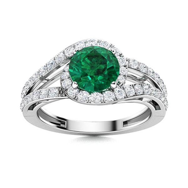 Natural 1.31 CTW Emerald & Diamond Engagement Ring 14K White Gold