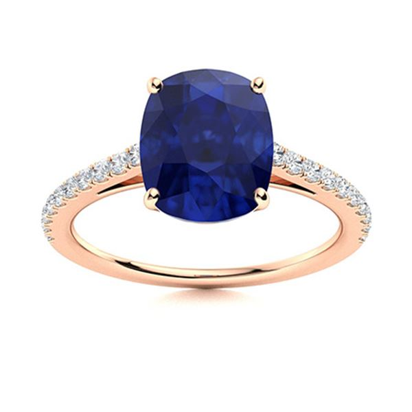 Natural 1.33 CTW Sapphire & Diamond Engagement Ring 18K Rose Gold