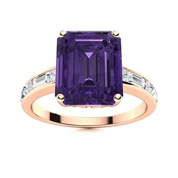 Natural 5.36 CTW Amethyst & Diamond Engagement Ring 14K Rose Gold