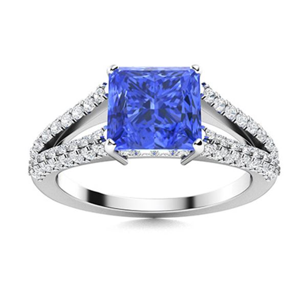 Natural 1.72 CTW Ceylon Sapphire & Diamond Engagement Ring 14K White Gold