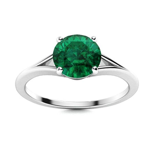 Natural 0.77 CTW Emerald Solitaire Ring 18K White Gold