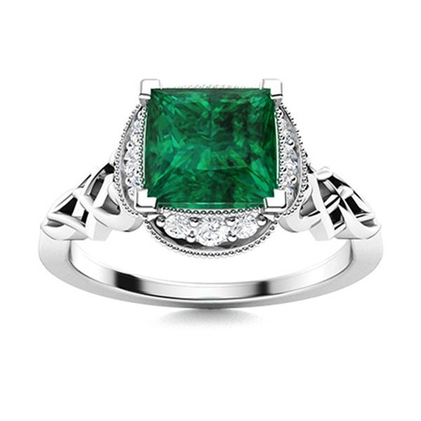 Natural 1.14 CTW Emerald & Diamond Engagement Ring 18K White Gold