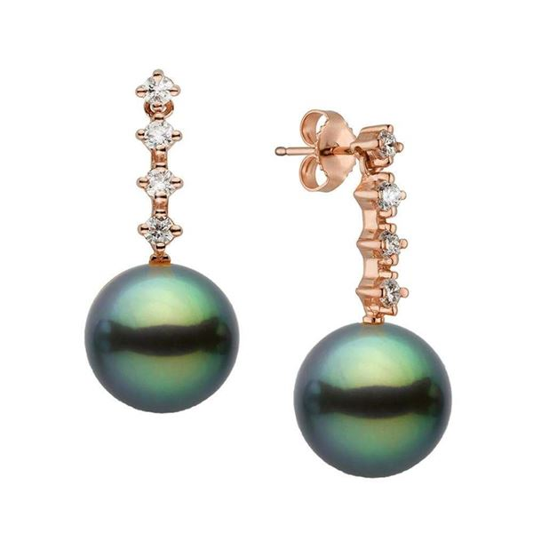 Black Tahitian Pearl and Diamond Constellation Earrings