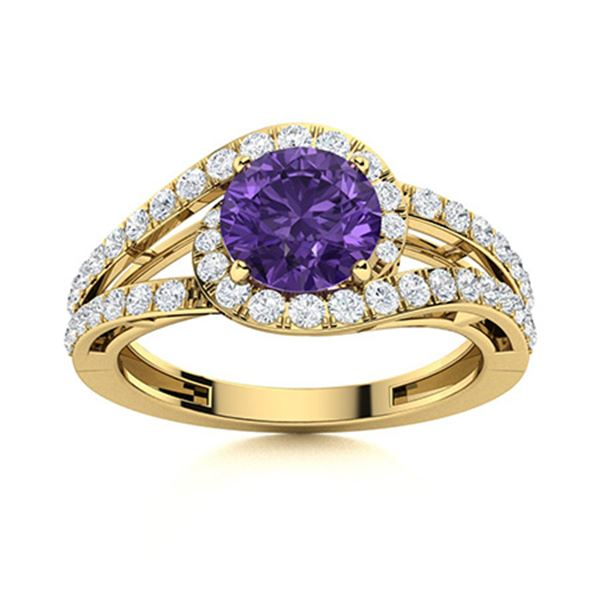 Natural 1.26 CTW Amethyst & Diamond Engagement Ring 14K Yellow Gold