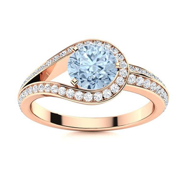 Natural 1.02 CTW Aquamarine & Diamond  Engagement Ring 18K Rose Gold