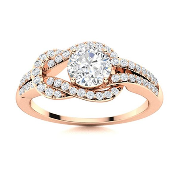 Natural 0.89 CTW Diamond Solitaire Ring 14K Rose Gold