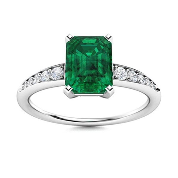 Natural 2.35 CTW Emerald & Diamond Engagement Ring 18K White Gold