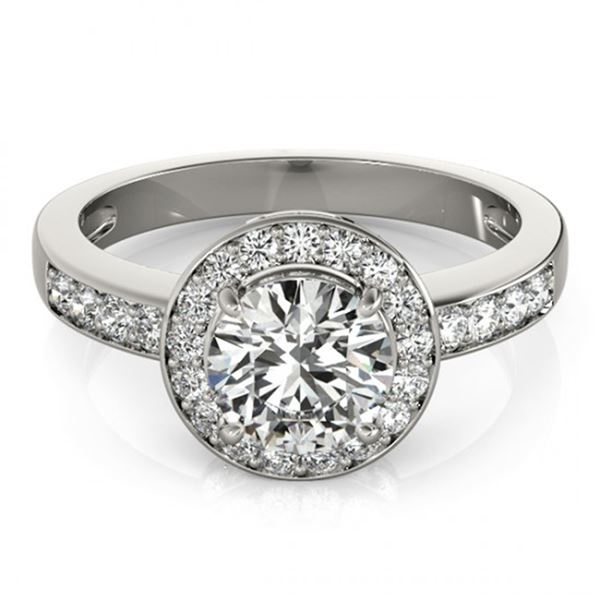 Natural 2 ctw Diamond Solitaire Halo Ring 14k White Gold