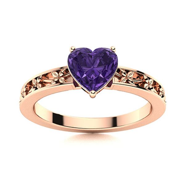 Natural 1.56 CTW Amethyst Solitaire Ring 18K Rose Gold