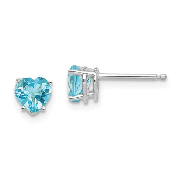 14k White Gold 5 mm Heart Blue Topaz Earrings