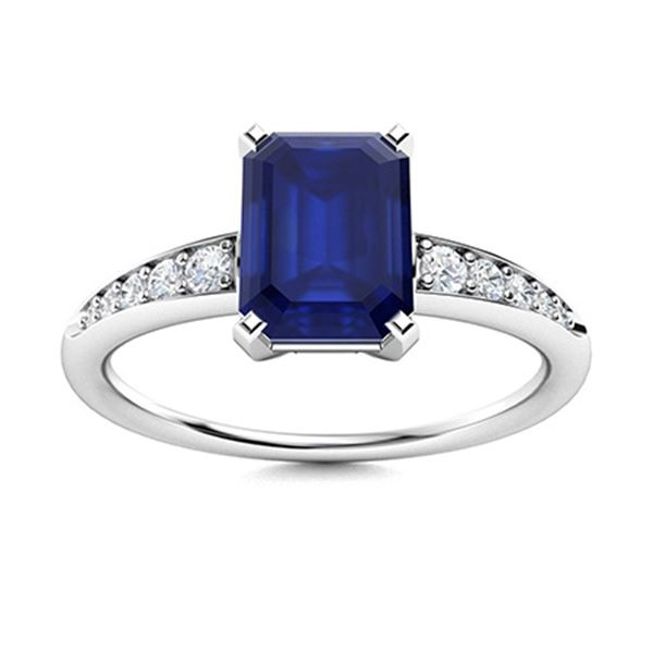 Natural 0.84 CTW Sapphire & Diamond Engagement Ring 14K White Gold