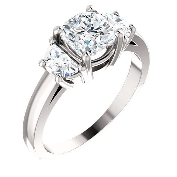 Natural 1.72 CTW 3-Stone Cushion Cut & half moons Diamond Ring 18KT White Gold