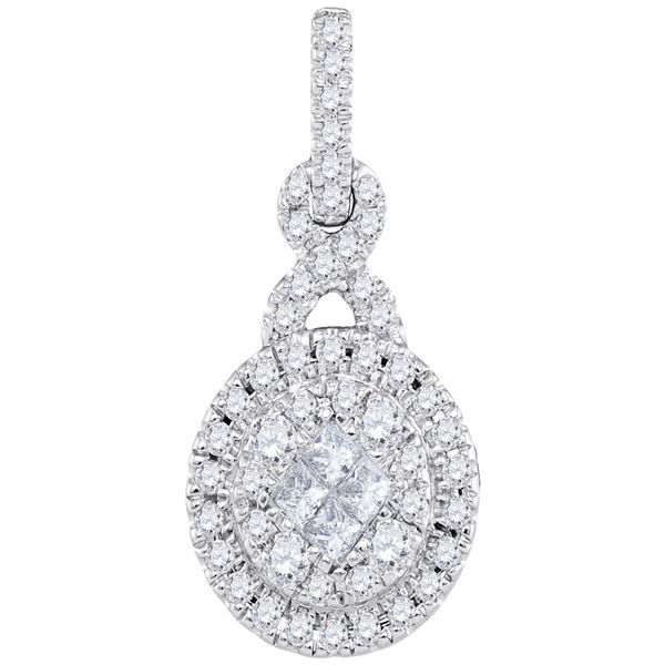 14kt White Gold Womens Princess Round Diamond Cluster Pendant 1/2 Cttw
