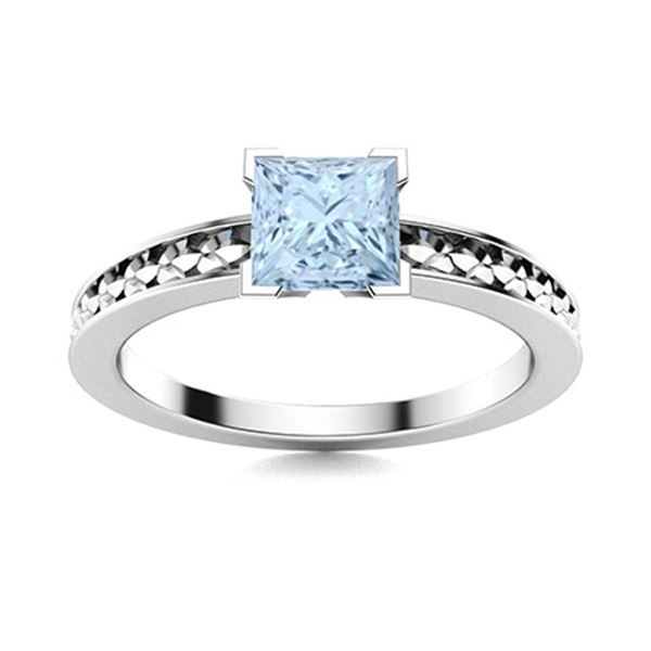 Natural 1.09 CTW Aquamarine Solitaire Ring 18K White Gold
