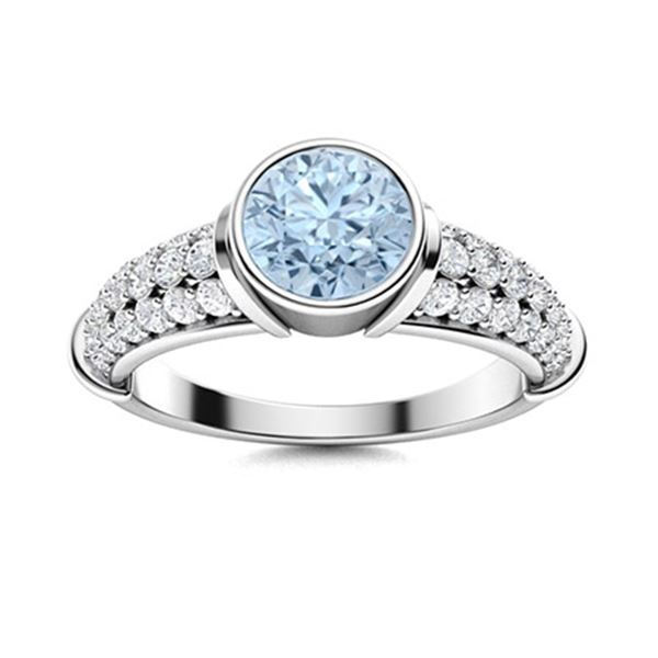 Natural 1.26 CTW Aquamarine & Diamond Engagement Ring 14K White Gold