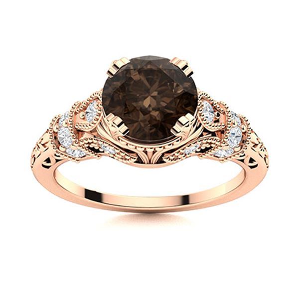 Natural 1.75 CTW Smoky Quartz & Diamond Engagement Ring 14K Rose Gold