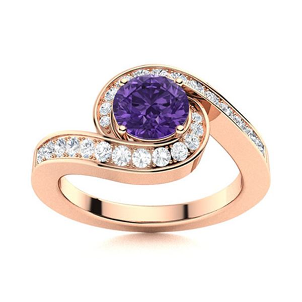 Natural 1.10 CTW Amethyst & Diamond Engagement Ring 18K Rose Gold