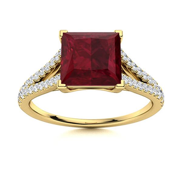 Natural 0.96 CTW Ruby & Diamond Engagement Ring 14K Yellow Gold