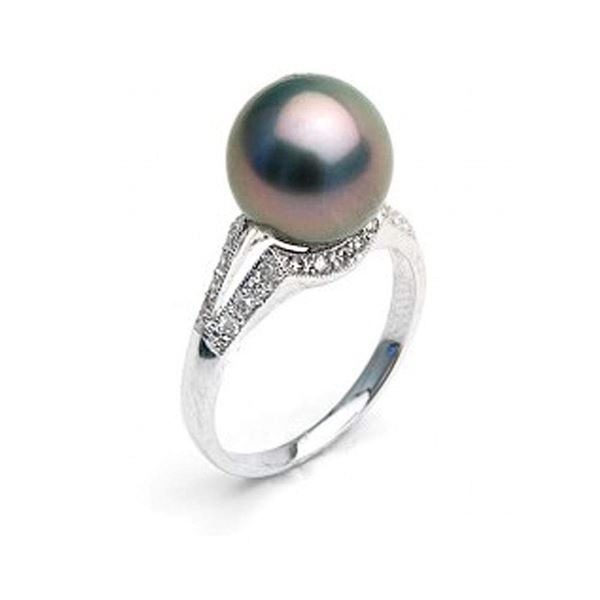 Black Tahitian Pearl and Diamond Victory Ring, 9.0-10.0mm, 18K Gold