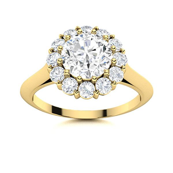 Natural 1.44 CTW Diamond Solitaire Ring 18K Yellow Gold
