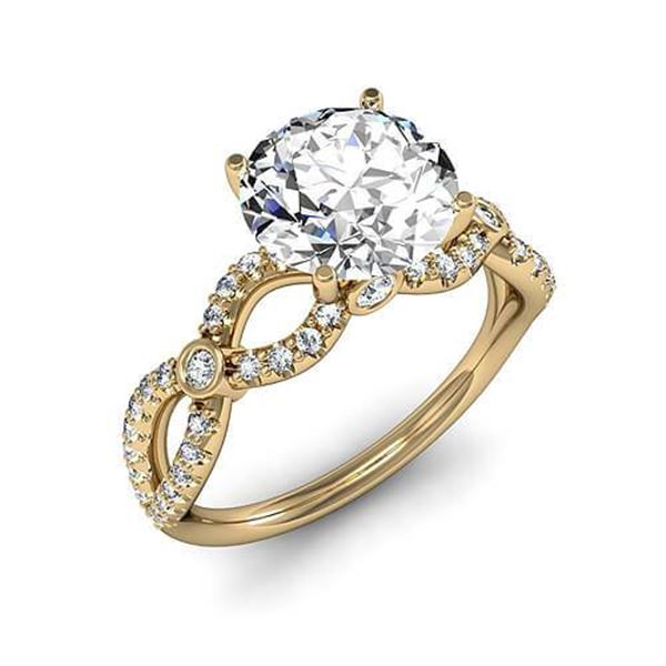 Natural 2.82 CTW Round Brilliant Cut Diamond Twist Shank Engagement Ring 14KT Yellow Gold