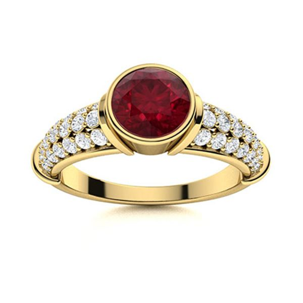 Natural 1.58 CTW Ruby & Diamond Engagement Ring 18K Yellow Gold