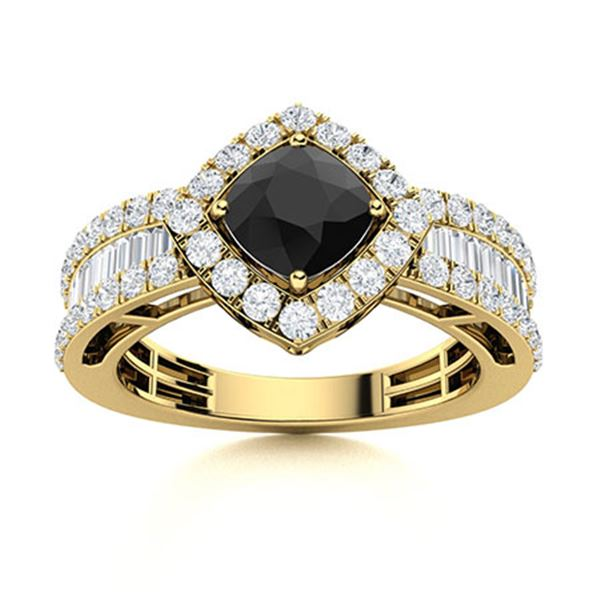 Natural 2.21 CTW Black & White Diamond Engagement Ring 18K Yellow Gold