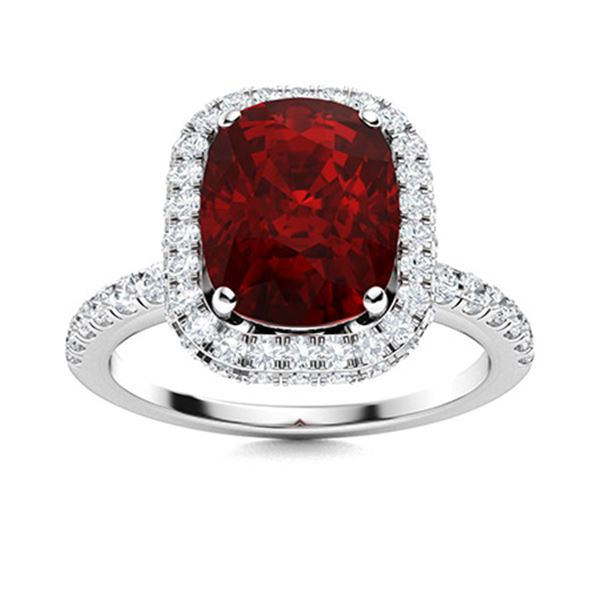 Natural 3.30 CTW Garnet & Diamond Engagement Ring 18K White Gold