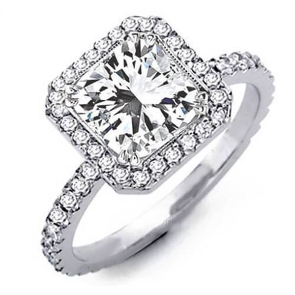 Natural 3.03 CTW Radiant Cut Diamond Engagement Ring 14KT White Gold