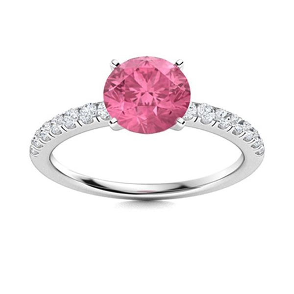 Natural 0.97 CTW Tourmaline & Diamond Engagement Ring 18K White Gold