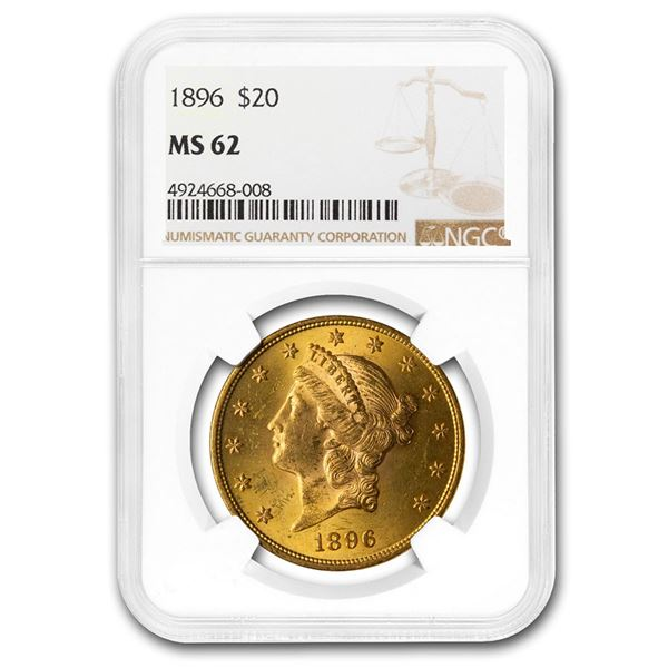 1896 $20 Liberty Gold Double Eagle MS-62 NGC
