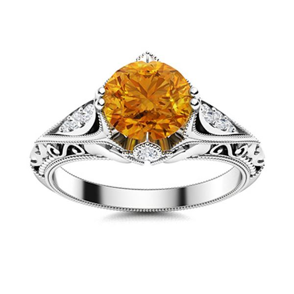 Natural 1.53 CTW Citrine & Diamond Engagement Ring 14K White Gold