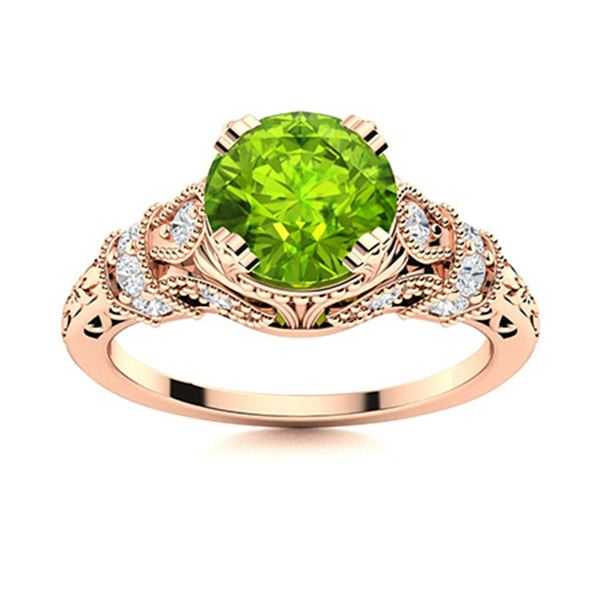 Natural 0.95 CTW Peridot & Diamond Engagement Ring 14K Rose Gold