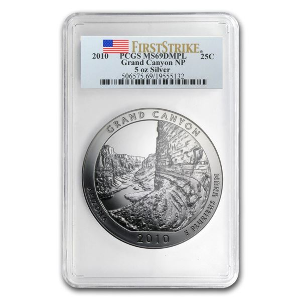 2010 5 oz Silver ATB Grand Canyon MS-69 DMPL PCGS (FirstStrike®)