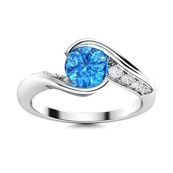 Natural 1.42 CTW Topaz & Diamond Engagement Ring 18K White Gold