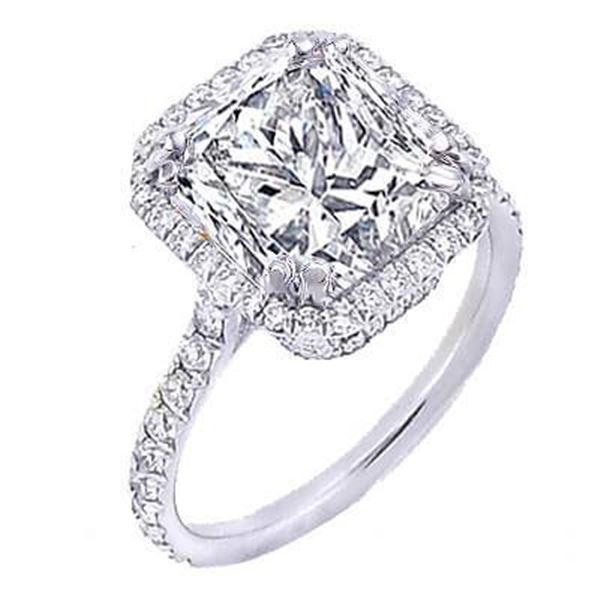 Natural 2.22 CTW Pave Halo Princess Cut Diamond Engagement Ring 18KT White Gold