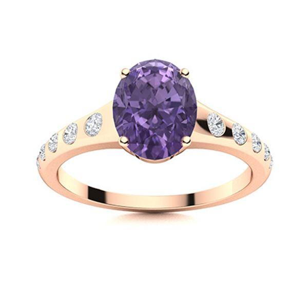 Natural 3.22 CTW Iolite & Diamond Engagement Ring 14K Rose Gold
