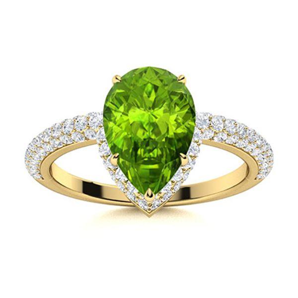 Natural 1.87 CTW Peridot & Diamond Engagement Ring 18K Yellow Gold